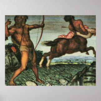 Hércules y Nessus de Francisco von Stuck Póster