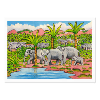 Herd of Elephants Large Business Card
