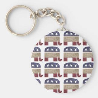 Herd of Elephants Republican GOP Basic Round Button Keychain