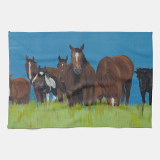 Herd of horse resting kitchen towels