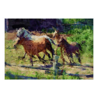 Herd of Horses Cantering at a Ranch Western Art Poster