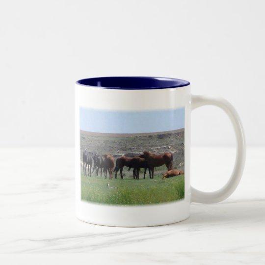 Herd of Horses & Prairie Dog - Logan County KS Two-Tone Coffee Mug