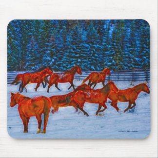 Herd of Horses Running in Winter Snow Art Mouse Pad