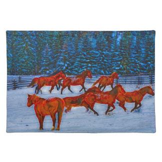 Herd of Horses Running in Winter Snow Art Placemat