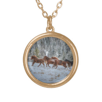 Herd of Horses Running in Winter Snow Gold Plated Necklace