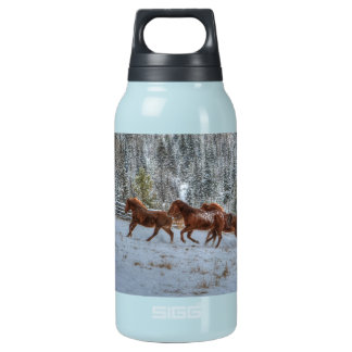 Herd of Horses Running in Winter Snow Insulated Water Bottle