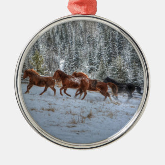 Herd of Horses Running in Winter Snow Metal Ornament