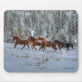 Herd of Horses Running in Winter Snow Mouse Pad