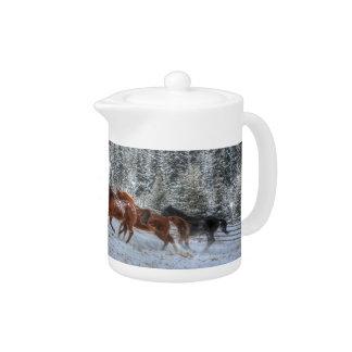 Herd of Horses Running in Winter Snow Teapot