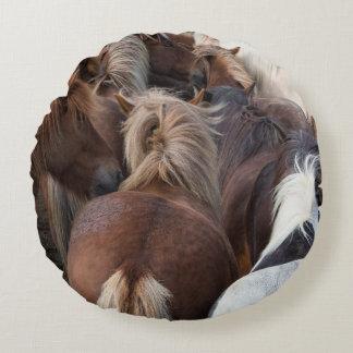 Herd of Icelandic horse Round Pillow