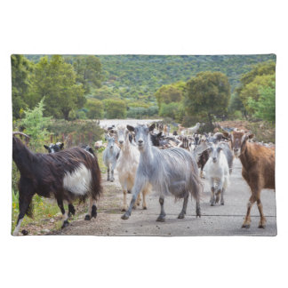 Herd of mountain goats walking on road cloth placemat