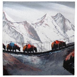 Herd Of Mountain Yaks Himalaya Cloth Napkin