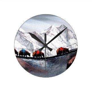 Herd Of Mountain Yaks Himalaya Round Clock