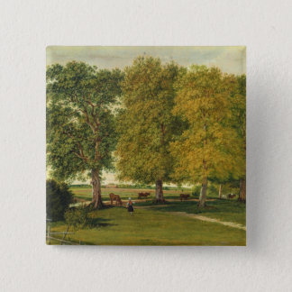 Herder with Cattle beneath Autumnal Trees Button