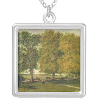 Herder with Cattle beneath Autumnal Trees Silver Plated Necklace