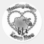 herding dogs love ewe round sticker
