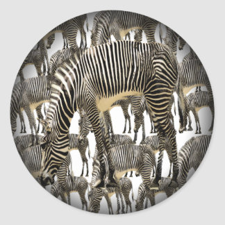Herds of Zebras Classic Round Sticker