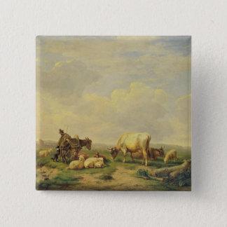 Herdsman and Herd, c.1880 Pinback Button