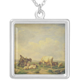 Herdsman and Herd, c.1880 Silver Plated Necklace
