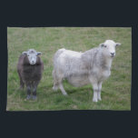 "Herdwick Ewe and Lamb Tea Towel<br><div class=""desc"">Photo of Herdwick ewe and her brown / black colored lamb on a farm in the Lake District,  Cumbria,  UK</div>"