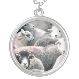 Herdwicks At Buttermere Round Pendant Necklace