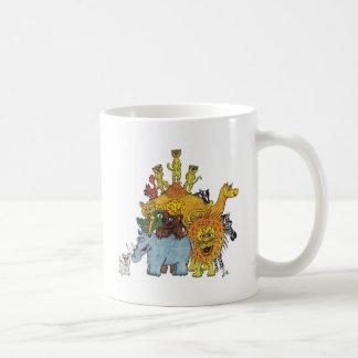 Here a group of animal some big and some tall coffee mug
