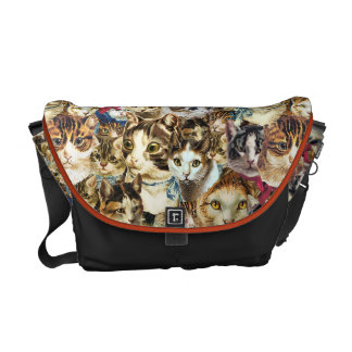 Here Be Cats messenger bag with cat faces