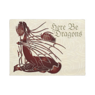 """""""Here Be Dragons"""" Birth of a Dragon Door Mat"""