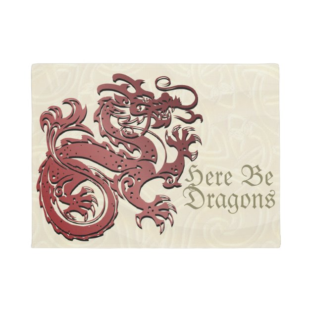 Here Be Dragons  Chinese Dragon Door Mat | Zazzle.com  sc 1 st  Zazzle & Here Be Dragons