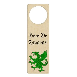 Here Be Dragons! Green Dragon Door Hanger