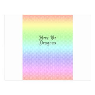 Here Be Dragons, Rainbow Pattern Postcard