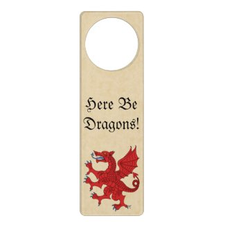 Here Be Dragons! Red Dragon Door Hanger