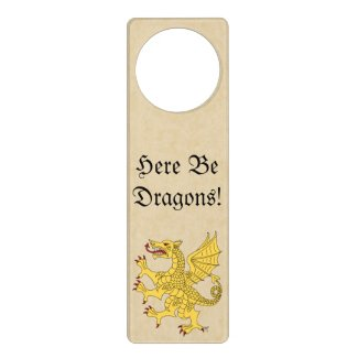 Here Be Dragons! Yellow Dragon Door Hanger