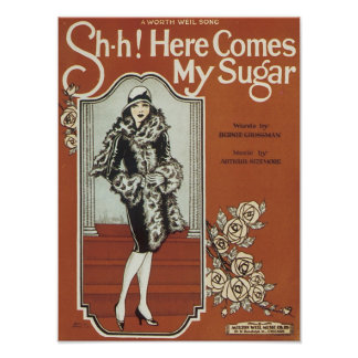 Here Come s My Sugar Vintage Songbook Cover Print