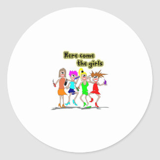 Here come the girls classic round sticker