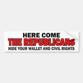 Here Come The Republicans Car Bumper Sticker