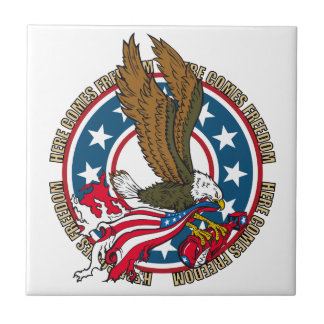 Here Comes Freedom American Bald Eagle Ceramic Tile
