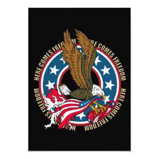 Here Comes Freedom American Bald Eagle 5x7 Paper Invitation Card