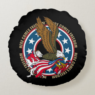 Here Comes Freedom American Bald Eagle Round Pillow
