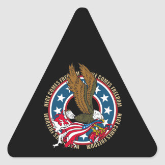 Here Comes Freedom American Bald Eagle Triangle Sticker