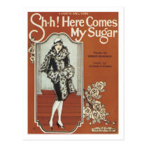 Here Come's My Sugar Vintage Songbook Cover Postcard