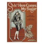Here Come's My Sugar Vintage Songbook Cover Poster