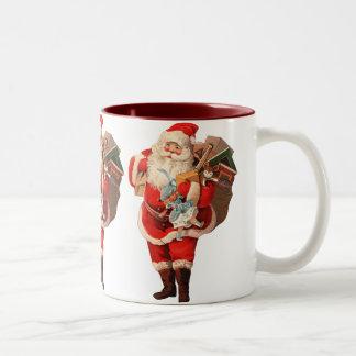 Here comes Santa Claus Two-Tone Coffee Mug