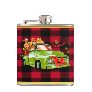 Here comes Santa paws dog Christmas parade truck Flask