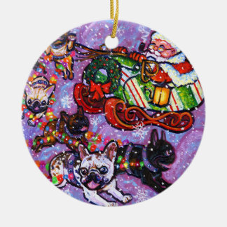 Here comes Santa Paws! Double-Sided Ceramic Round Christmas Ornament