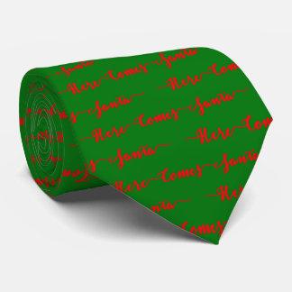Here Comes Santa Red Text Christmas Green Velvet Neck Tie