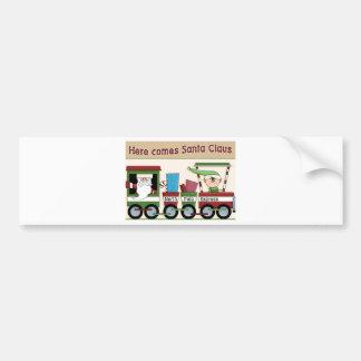 Here comes Santa train Car Bumper Sticker