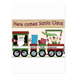 Here comes Santa train Postcard