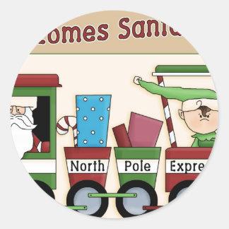 Here comes Santa train Classic Round Sticker