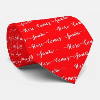 Here Comes Santa White Text Christmas Red Velvet Neck Tie